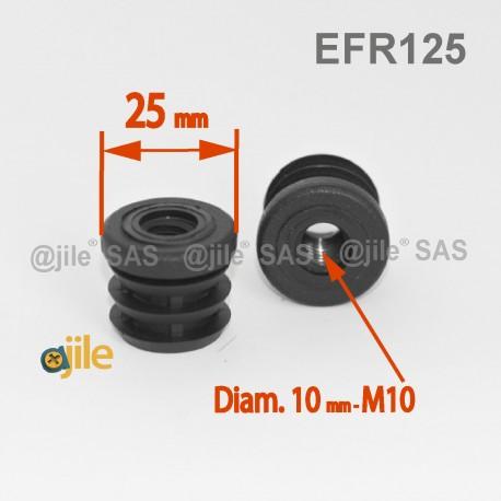 embout plastique rond pour tube de diametre 25 mm avec trou filete diam 10 mm m10