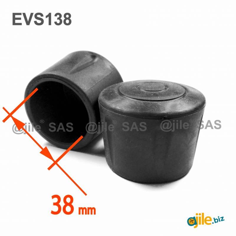embout enveloppant renforce caoutchouc vulcanise noir pour pied tube de diametre 38 mm