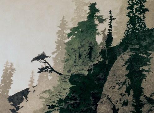 Mt Ellinor in Mist 2, Colored Pencil, by Allan J Jones