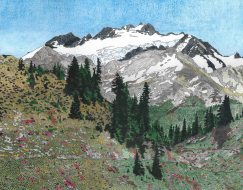Mt Olympus from Bogachiel Pass, Olympic National Park, Colored Pencil, by Allan J Jones