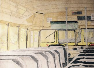 My First Bus, Colored Pencil, by Allan J Jones