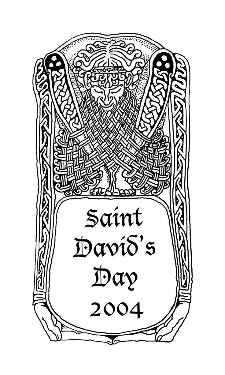 St David's Day card cover, 2004, Pen and Ink