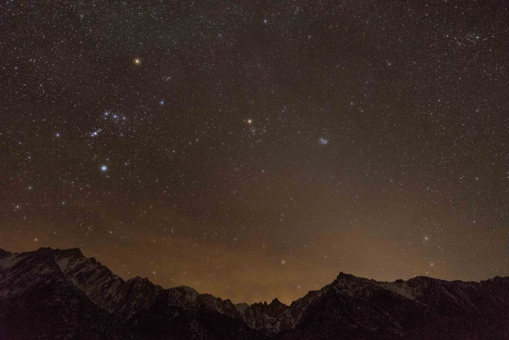 Orion Over Mt Whitney, Lone Pine Campground, Lone Pine, CA, 14Mar2017, Photo by Allan J Jones