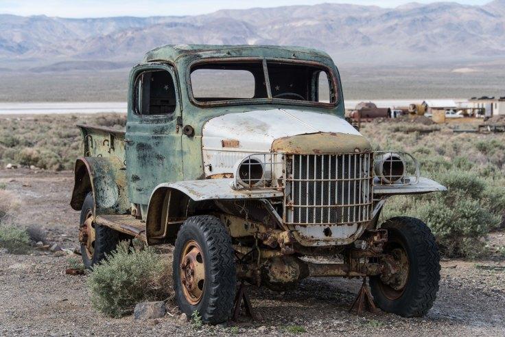 Rumored to be Charles Manson's truck, Ballarat, Death Valley, 15Mar2017, Photo by Allan J Jones