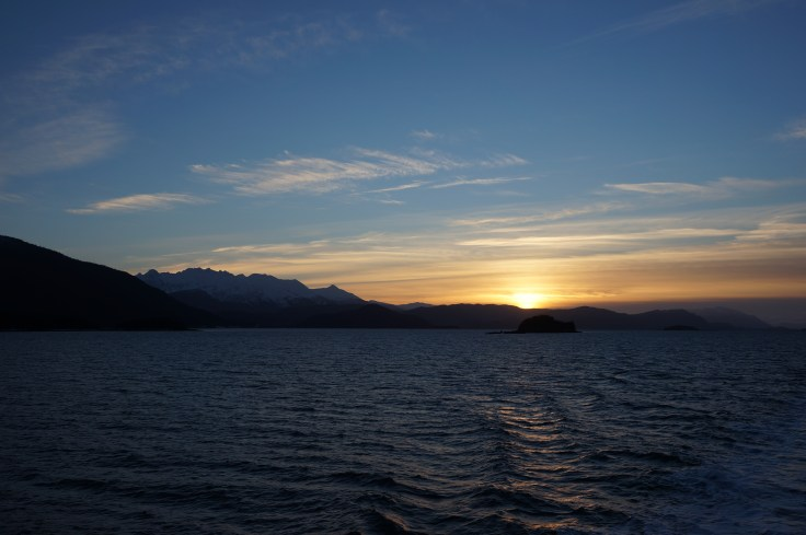 Sunrise north of Juneau, Inside Passage, 24Nov2013, Photo by Allan J Jones