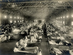 Emergency hospital, Camp Funston, Kansas, during 1918-19 influenza epidemic that caused 50 million deaths worldwide. As of today, only one death from swine flu has been reported in the United States. Photo from otisarchives4, via Flickr.