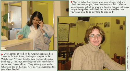 Photos and captions from 2005 article about Palestinian and Israeli nurse. Courtesy of Constance Romilly.