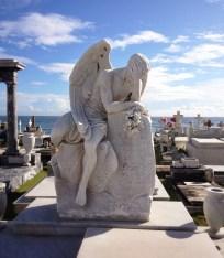 Angel sculpture on grave marker