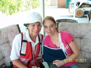 Sue Hassmiller, on left, as American Red Cross volunteer following [...] </p srcset=