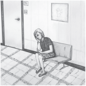 drawing of patient in waiting room