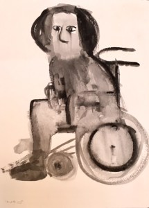 'She Observes,' ink on paper, 2005 by Julianna Paradisi