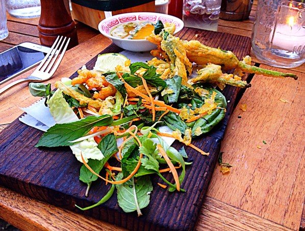 photo of tempura veggie salad