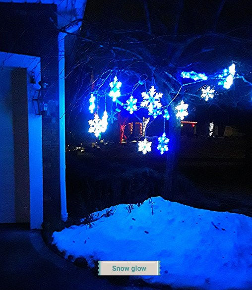 Snowflake lights hung on a crab tree next to the garage