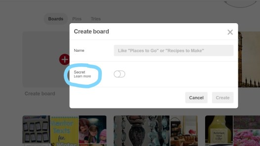 You can make a board secret before or after creating the board.