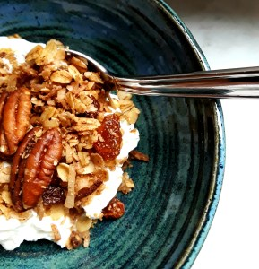 homemade granola tops plain lowfat Greek yogurt