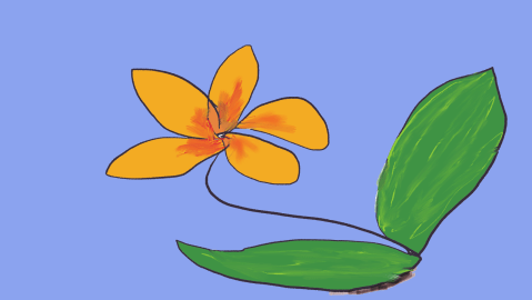 yellow flower sketch on blue background