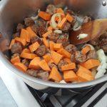 saute sweet potatoes, onions, and chorizo