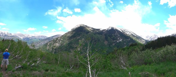 The peak of Whitehouse Mountain is seen from Anthracite Pass