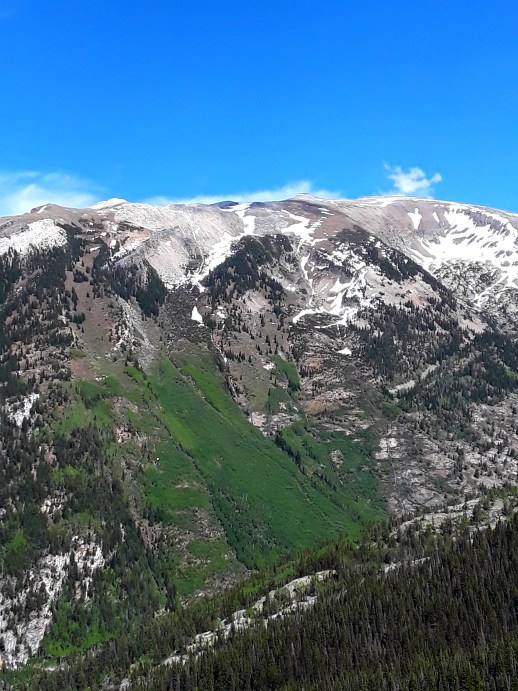 Rocky mountain tops, capped in snow and skirted by greenery.
