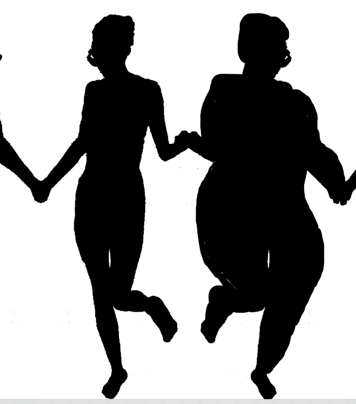 shadows of skinny, fat, and in between sized women