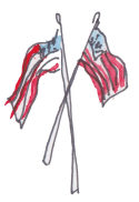 two crossed U.S. flags