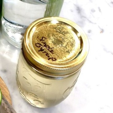 jar filled with simple syrup