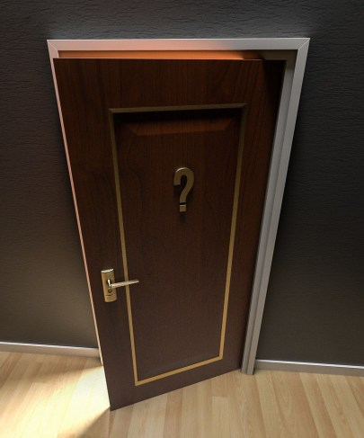 a door is open with a question mark on it