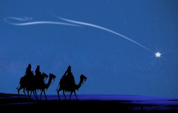 silhouette of three magi on camels