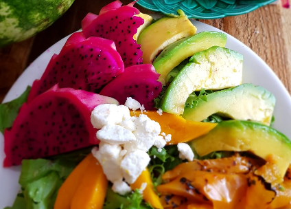 fruit and avocado platter with cheese