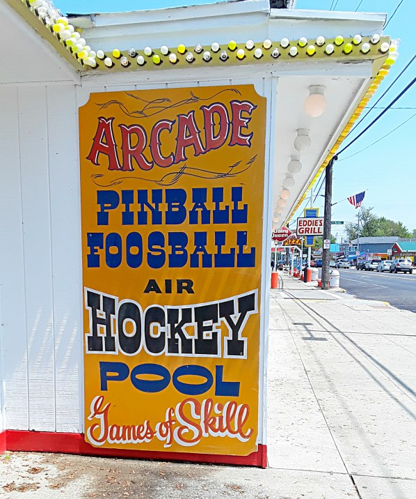 Old fashioned lettering on sign advertising arcade games