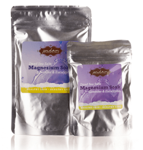 lavender and eucalyptus sea salts in foil packages