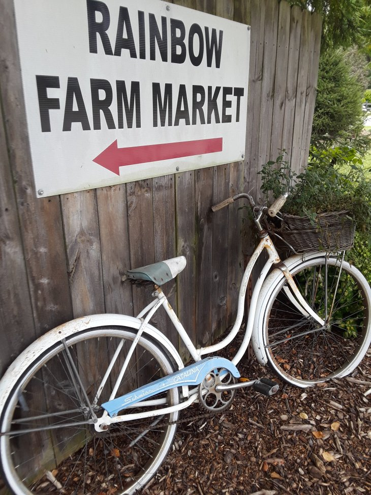 Rainbow Farm Market arrow directs customers to the indoor market.