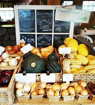 Varieties of squashes and onions in baskets for sale.