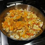 oranges and apples saute with rice