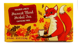 A fox drinking tea from a teacup is pictured on the package of Harvest Blend tea.