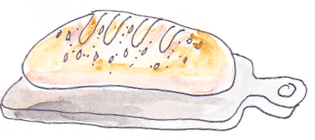 drawing of sourdough bread loaf