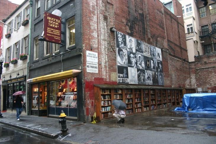 Book stacks outside Brattle Book Shop