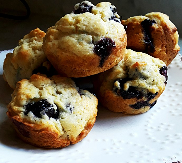 A stack of mouthwatering blueberry muffins