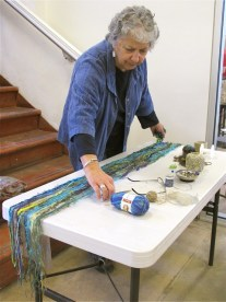 Fabric Artist Regina Browne demonstrated her technique in the Plaza Gallery.
