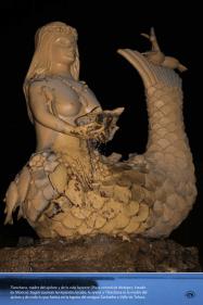 Tlanchana, madre del ajolote y de la vida lacustre (Plaza central de Metepec, Estado de México). Según cuentan las leyendas locales, la sirena o Tlanchana es la madre del ajolote y de todo lo que habita en la laguna del antiguo Zanbatha o Valle de Toluca