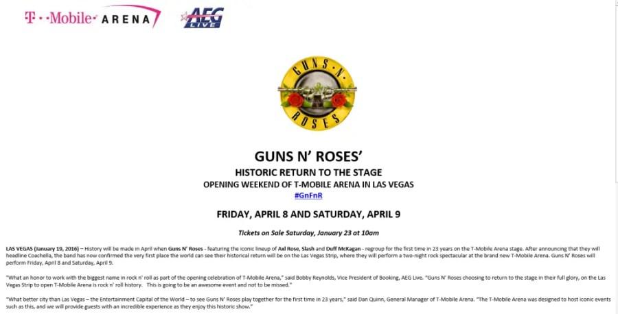 GunsNRoses Las Vegas announcement