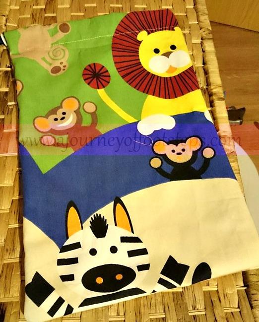 Boo's bag, sewing, drawsting bag, jungle fabric, recycling, Trash2Treasure