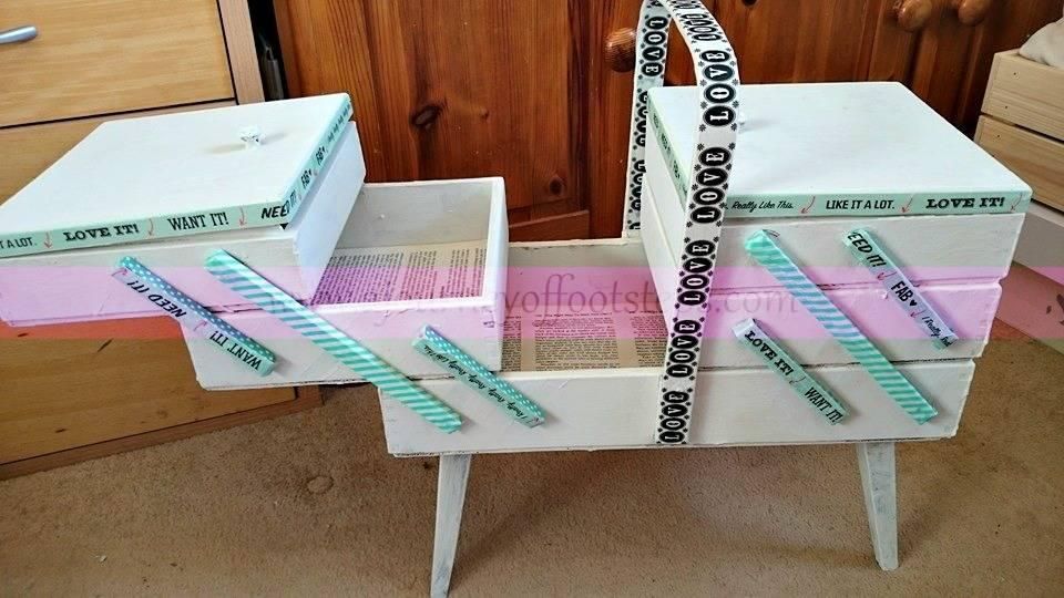 writing box, sewing box, upcycle, painting,