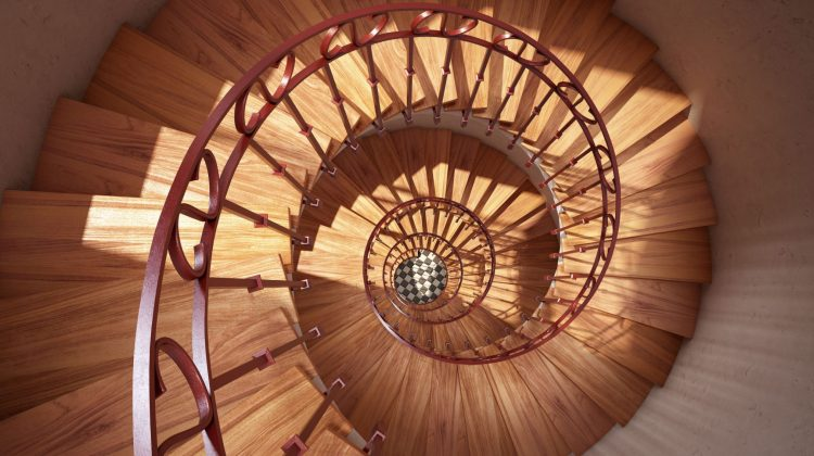 spiral stairs looking down