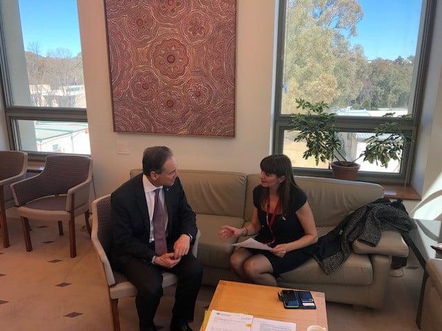 Minister Greg Hunt and Pharmacy Guild committee member Adele Tahan.