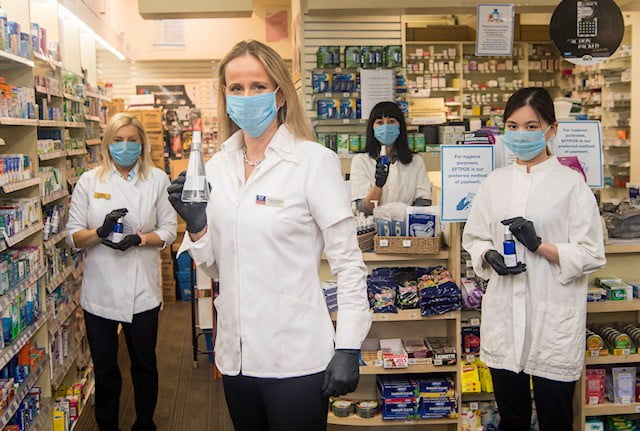 Anja Faustein and her team COVID-ready at the pharmacy.