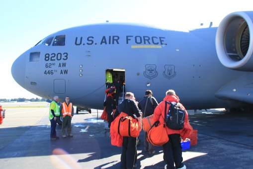 Boarding the C-17, geared up for the long (~5 hr) flight to Antarctica. Chances of Landing: 50%.