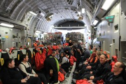 The inside of the C-17. The back of the plane is loaded with cargo (a lot of science equipment), and there were about 120 passengers on board.