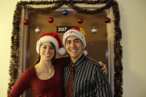 Our Christmas Portrait, in front of our decorated door at home. © A. Padilla