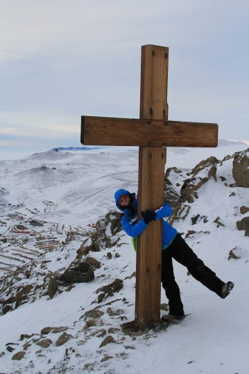 Bev, hanging out at the top of Ob Hill with the Memorial Cross after a wonderful evening hike to the top. © A. Padilla